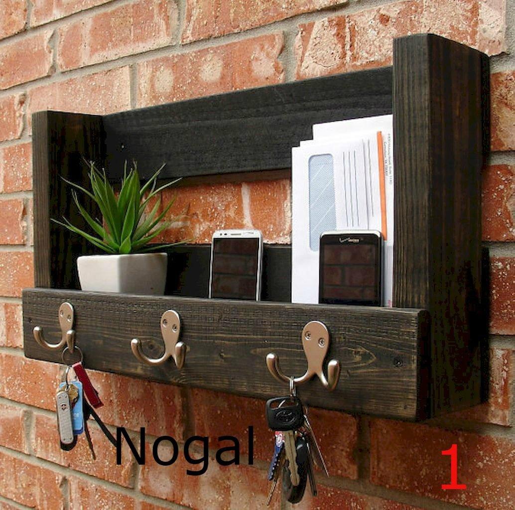 perchero de pared con repisa de madera solida 3 ganchos. Cargando zoom. 78f45ed41846