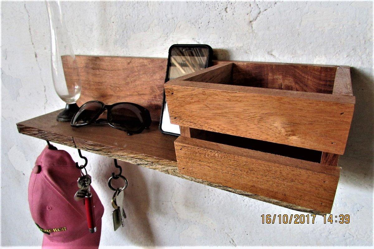 Perchero de pared llavero repisa de madera con huacal - Perchero madera pared ...