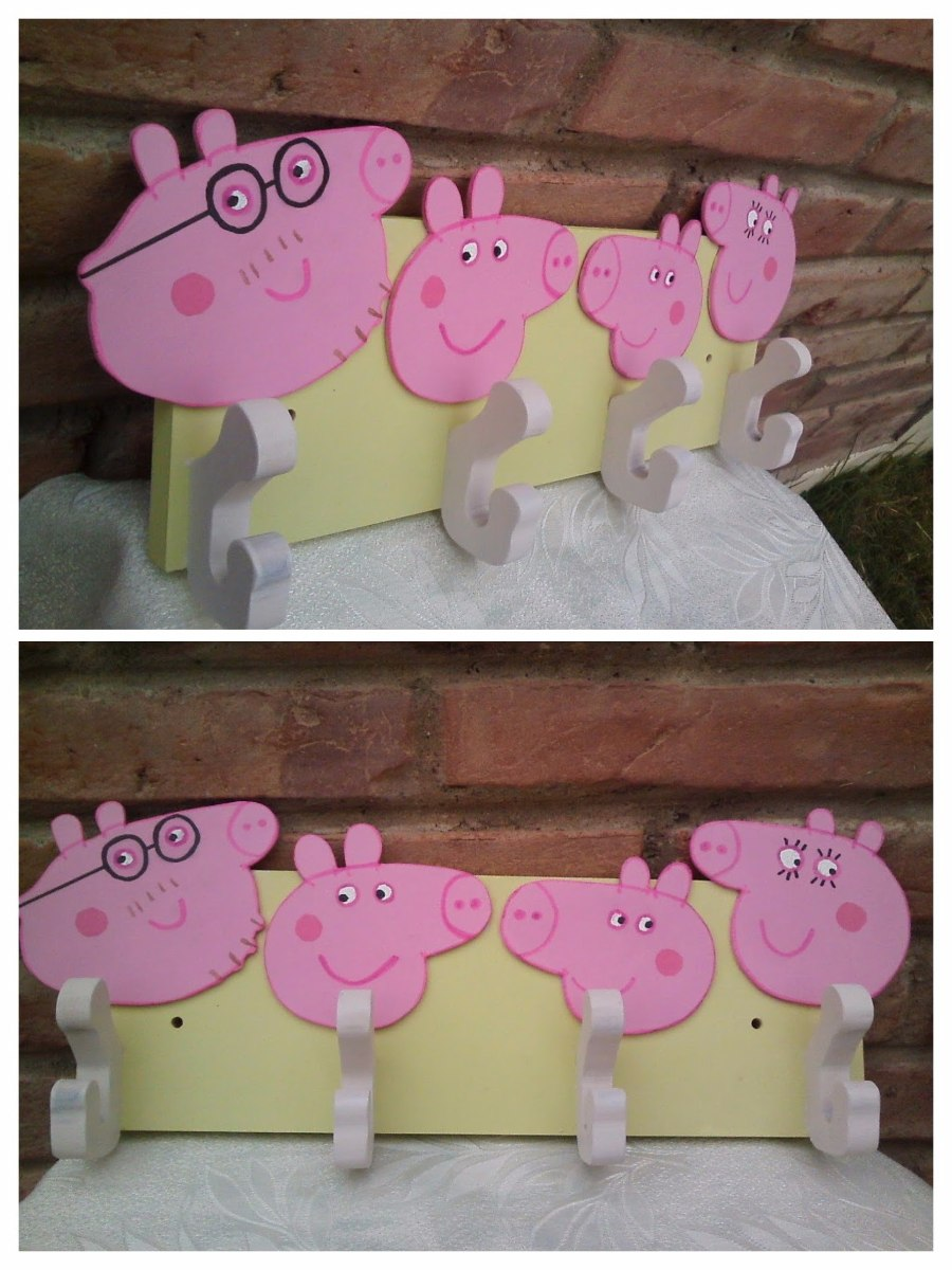 Perchero De Pared Peppa Pig 350 00 En Mercado Libre # Muebles De Peppa Pig