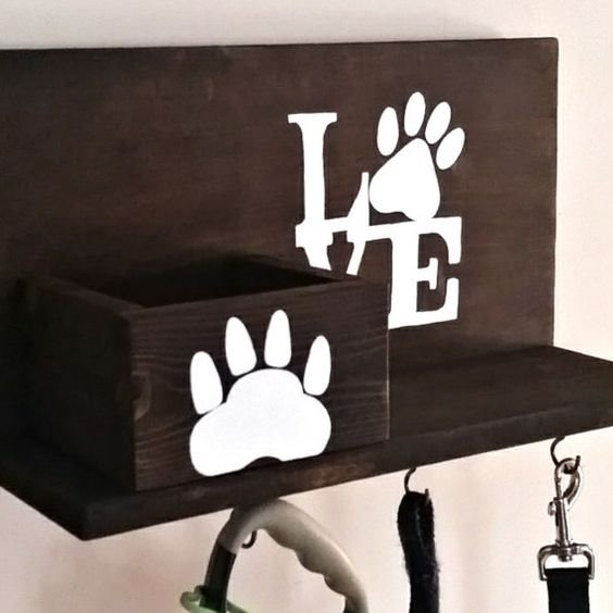 Perchero de pared portallaves mascota repisa madera - Percheros de madera rusticos ...