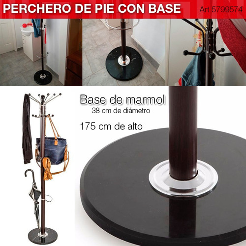 perchero de pie y paraguero simil madera c/ base de marmol