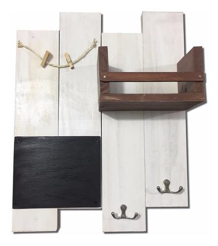 perchero estante tablero madera vintage blanco