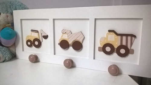 perchero infantil de pared 3 perchitas c apliques en relieve