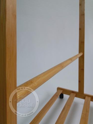 perchero multifuncional 3 en 1 en bambu exhibidor zapatera
