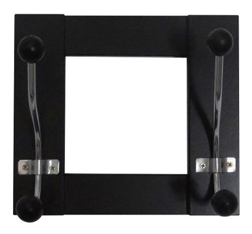 perchero negro de pared con 2 ganchos  - la vidriera regalos