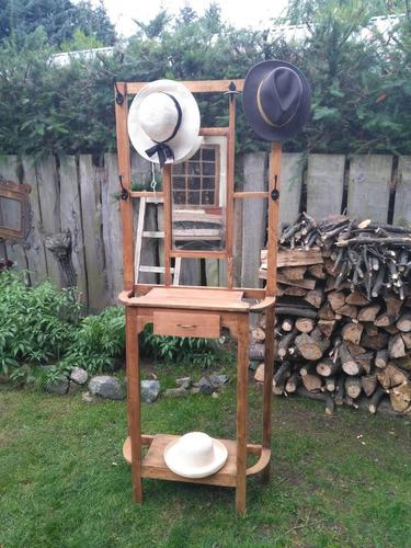 perchero paraguero recibidor madera y espejo con cajón