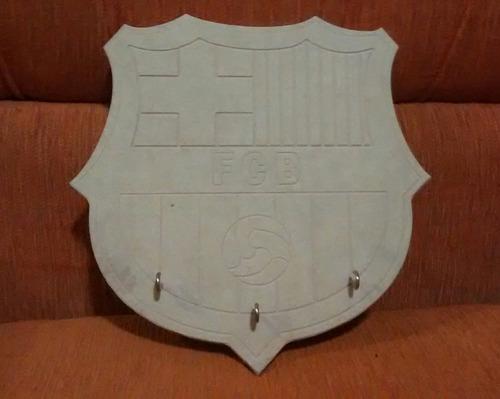 perchero, porta llaves, adorno con logo barcelona fc tallado