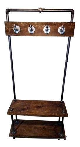 perchero recibidor rustico, en hierro y madera
