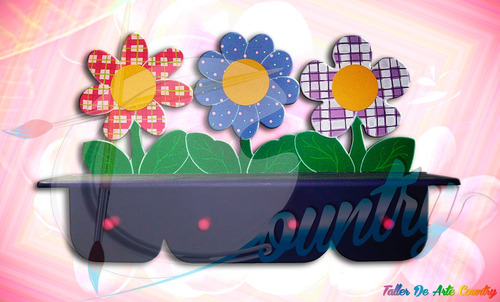 perchero repisa flores arte country