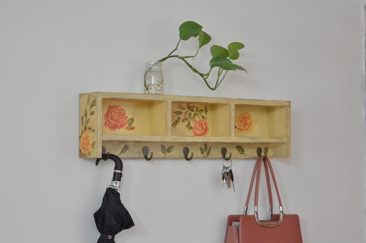 Perchero repisa vintage mueble de repisas sala comedor for Ganchos para repisas