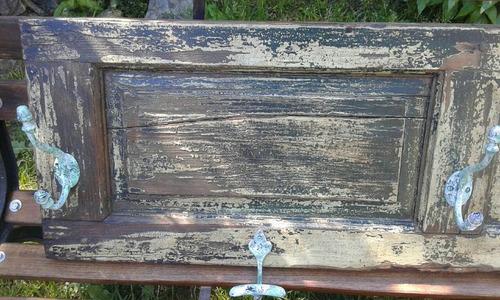 perchero rustico antiguo postigo de roble decapado real
