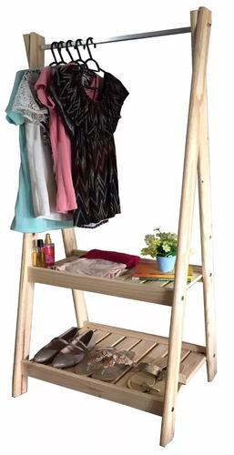 perchero tiendas de madera con estantería zapatera - mweb
