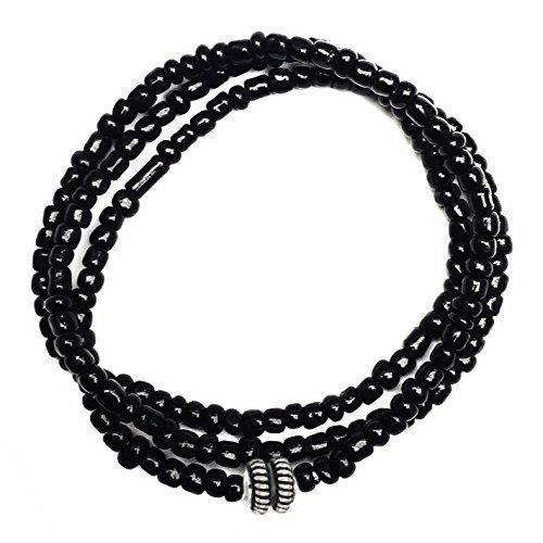 perepaix rave mens bracelet 3 wraps cuentas negras de semill