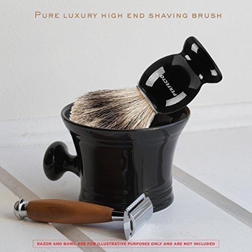 perfecto cepillo 100% puro tejón, mango negro, diseñado