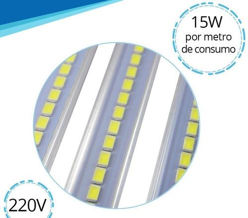 perfil aluminio 1m 72 led 5630 directo a 220v alta potencia