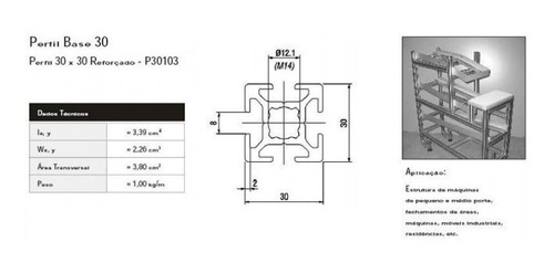 perfil de aluminio estrutural 30x30 reforçado