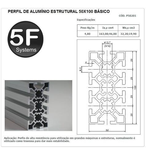 perfil de alumínio estrutural 50x100 básico
