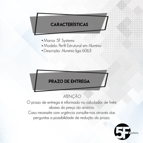 perfil de alumínio estrutural 50x50 reforçado