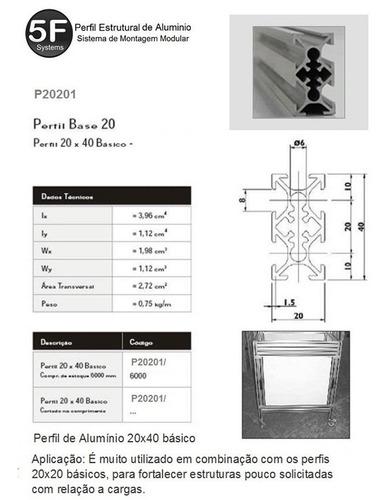perfil estrutural de alumínio 20x40 básico