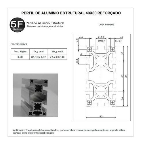 perfil estrutural em alumínio 40x80 reforçado