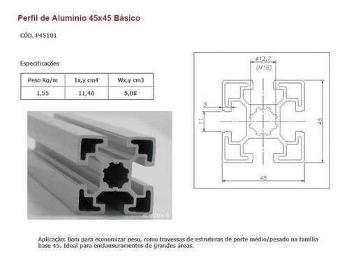 perfil estrutural em alumínio 45x45 básico
