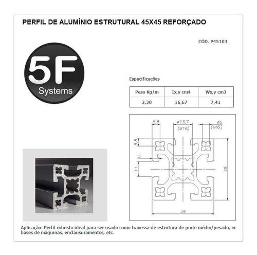 perfil estrutural em alumínio 45x45 reforçado