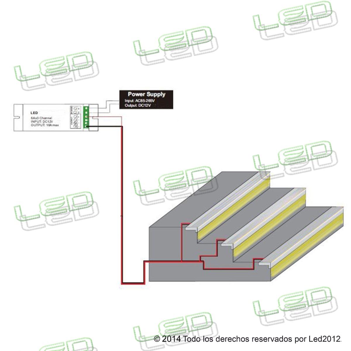 Perfil para escalera o escal n tira o cintas led 2metros - Leds para escaleras ...