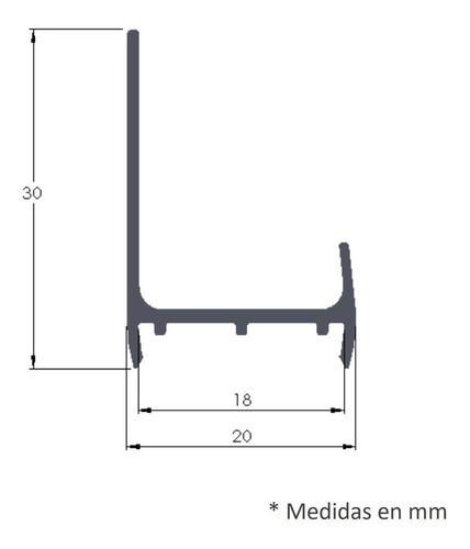 perfil tirador de cajon mini j aluminio 18 anodizado 1.5 mts