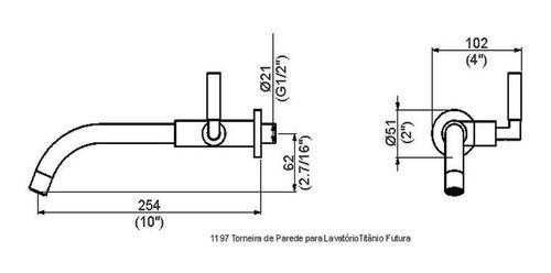 perflex titânio futura torneira parede lavatório 1197