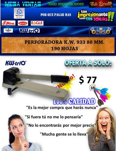 perforadora k.w. 933 80 mm. 190 hojas la mejor marca mundo