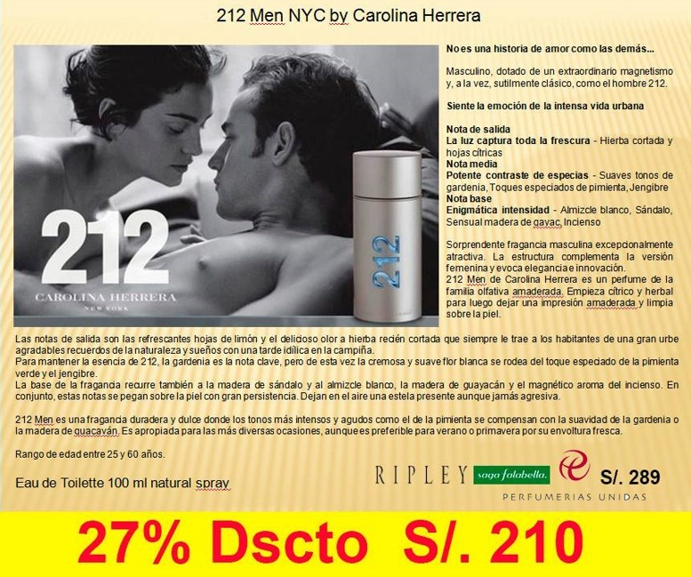 Perfume 212 Men Nyc Carolina Herrera 100 Ml Original S 21000 En