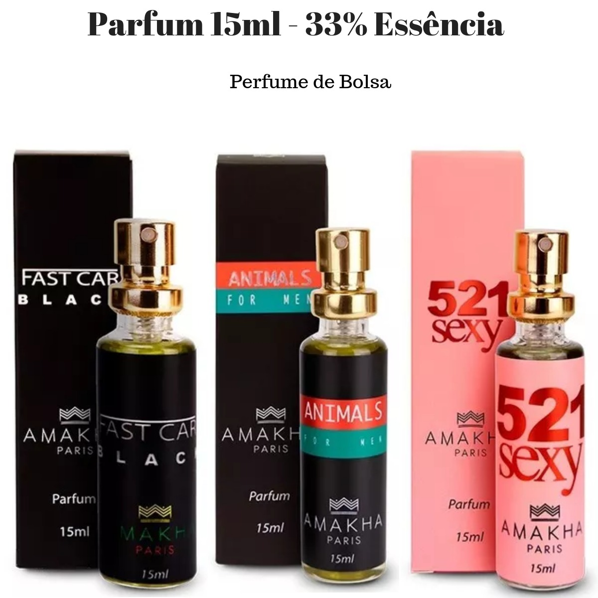 2df5070cf Perfume Amakha Paris 15ml - Kit 5 Unidades - Frete Grátis - R  139 ...