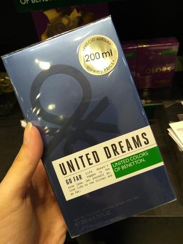 perfume benetton united dreams go far 200ml + amostra grátis