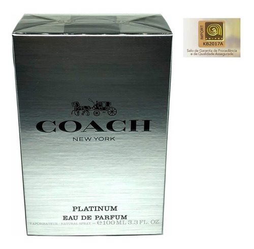 perfume coach platinum edp 100ml - selo adipec original