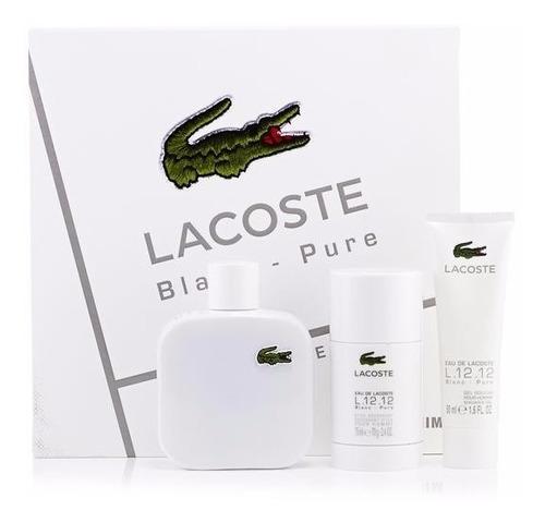 perfume lacoste blanc pure 100 ml set x 3 incluye crema y de