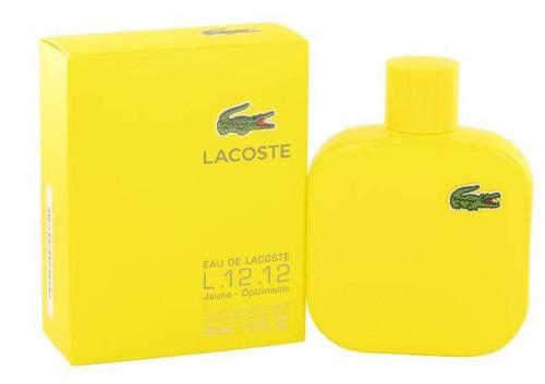 perfume lacoste l.12.12 jaune.optimistic hombre  edt 50 ml