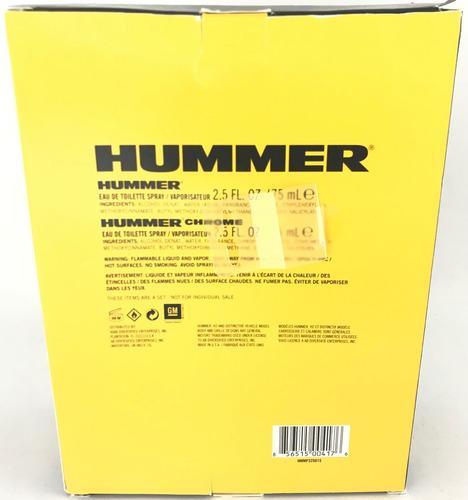 perfume masculino hummer com 2 unidades de 75ml cada.