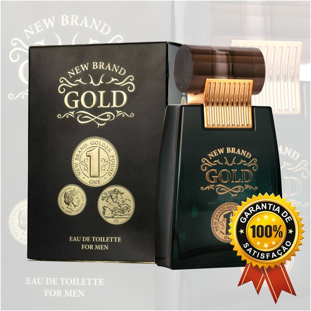 b1f43b662 perfume new brand gold 100ml masculino. Carregando zoom.