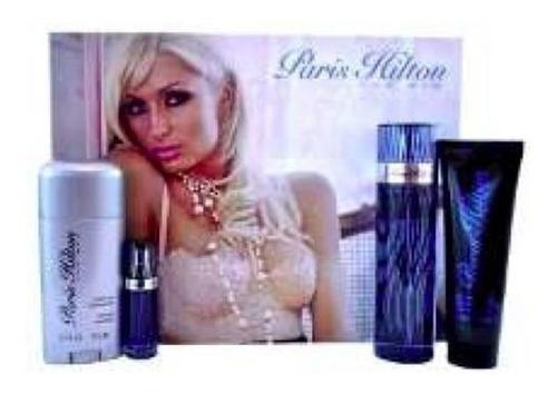 perfume paris hilton men 100 ml set x 4 incluye perfume viaj