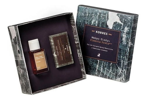 perfume pimenta preta korres presente 50ml + sabonete 90g