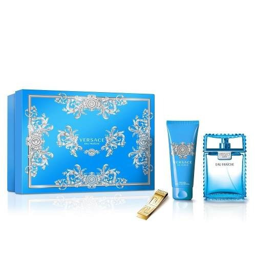 perfume versace eau de fraiche set x 3 incluye clip dinero
