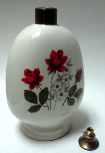 perfumero años 60 porcelana blanca flores tapa bronce