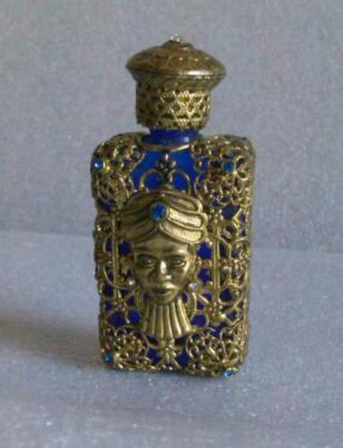 perfumero checoslovaco bronce, piedras y cristal azul
