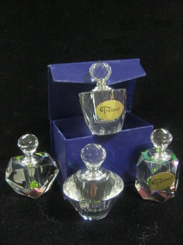 perfumero de vidrio en su cajita 4 modelos macizo cristal