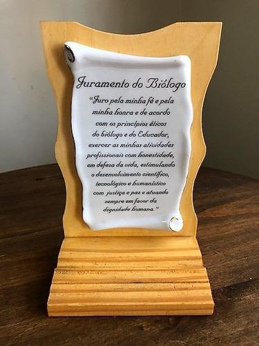 pergaminho juramento do biólogo - formatura profissão