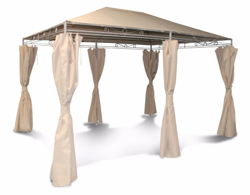 pergola c/cortinas metal polyester 4 x 3 mts - my jardin