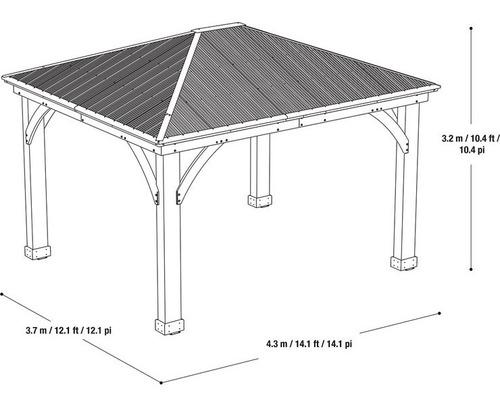 pergola de madera para jardin importada 4.3 x 3.7 msi