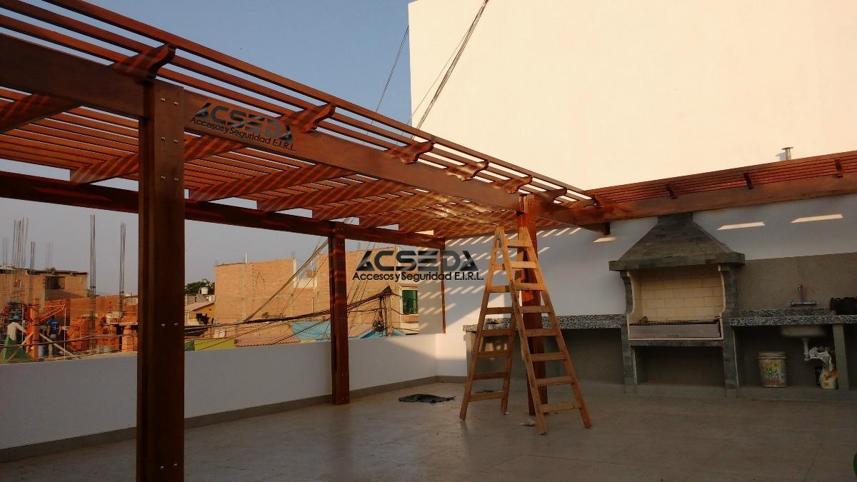 Pergola de madera para terraza y casa de playa s 150 00 for Techos terrazas fotos