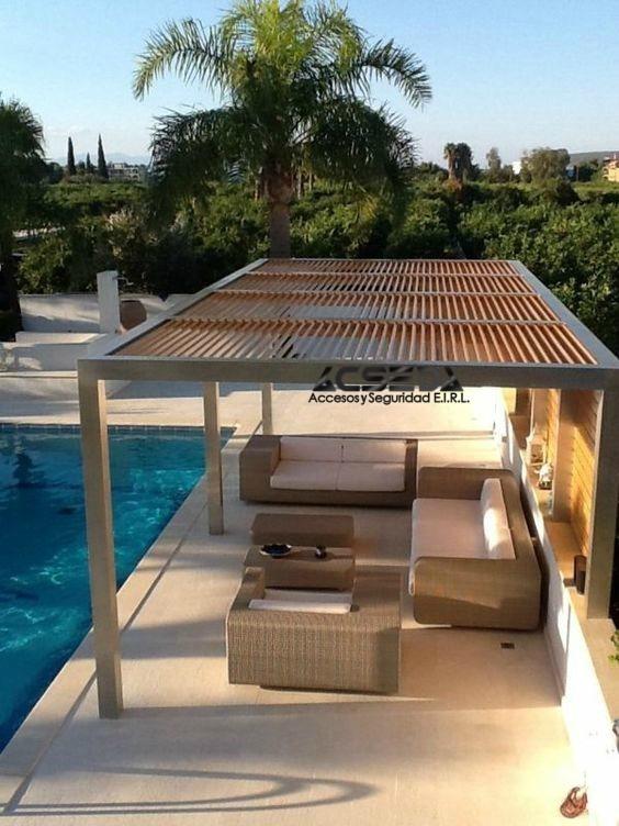Pergola De Metal Y Madera Para Terrazas Y Piscina S 25000 En - Pergolas-en-terrazas