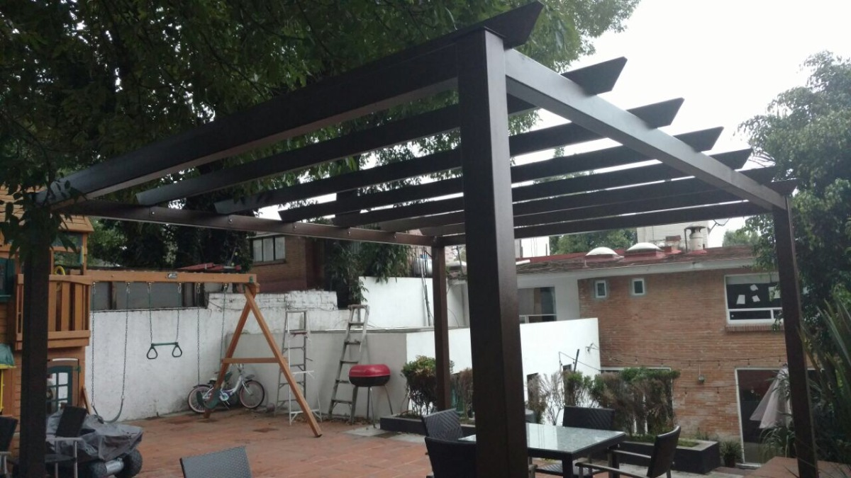 Pergola para jardin de acero 3 x elegante y moderna for Pergolas de acero
